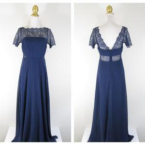 Asos Navy Lace Insert Bridesmaid Maxi Dress NEW